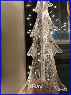 Simon Pearce 18 Vermont Silver Leaf EverGreen Christmas tree, hand-blown Glass