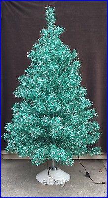 Starlite Revlis Aluminum Tinsel Christmas Tree Silver And Green vintage Holiday