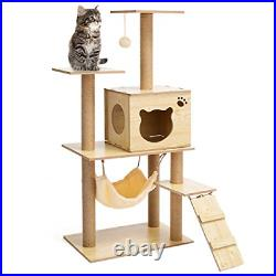 Sudatong Modern Wooden Cat Tree Multi-Level Cats Tower Kittens Activity Centre