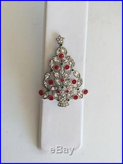 Swarovski Brooch 2002 Red Green & Silver Christmas Tree Swan Signed