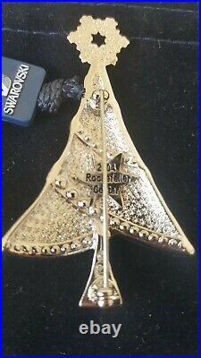 Swarovski Swan Signed Silver Tone 2004 Rockefeller Christmas Tree Brooch WithBox