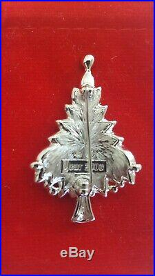 Swarovski Swan Signed Silver Tone Clear Crystals 2000 Christmas Tree brooch/Box