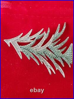Swarovski Swan Signed Silver Tone Clear Crystals Green Enamel Xmas Tree Brooch