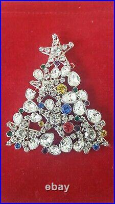 Swarovski Swan Signed Silver Tone Multi-Color Crystals Xmas Tree Brooch With Box