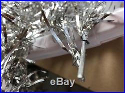 T1 Vintage Silver Aluminum Tinsel 4 Foot Christmas Tree 4' Pom Pom