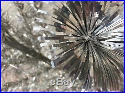 T2 Vintage Silver Aluminum Tinsel Sparkler 4 Foot Christmas Tree 4' Pom Pom