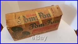 TWO Vintage Silver Pom Pom Christmas trees with orig box