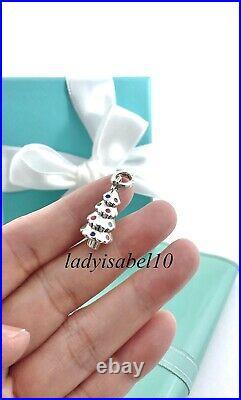 Tiffany & Co Christmas Tree Enamel Charm w Oval Clasp Sterling Silver w Box 2156