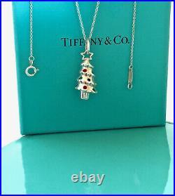 Tiffany & Co Enamel Christmas Tree Love Charm 18 Necklace Silver Gift w Box 729