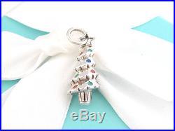 Tiffany & Co Silver Red Blue Enamel Christmas Tree Charm 4 Necklace Bracelet