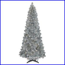 Treetopia Basics Silver 7.5 Ft Prelit Christmas Tree with Clear Lights (Open Box)