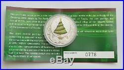 Tuvalu 2008 Christmas Tree 1oz. 999 Silver Coloured in Original Box with Coa