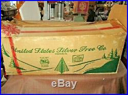 U. S. Silver Tree Co. 4 1/2 ft Aluminum Pom Pom Christmas Tree with Box 91 BRANCHES