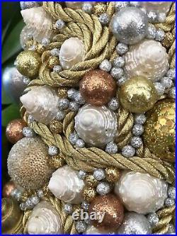 Unique 14 Nautical Coastal Sea Shells Christmas Tree Centerpiece Holiday Decor
