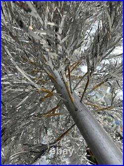 VINTAGE 6' 7' Silver Aluminum Christmas TREE Tinsel Pom Pom 157 BRANCHES FULL