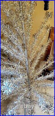 VINTAGE 6 FT Aluminum Pom Pom CHRISTMAS TREE. Missing branches and Original Box