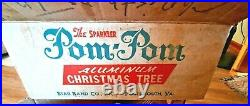 VINTAGE Aluminum Christmas Tree 4' Sparkler Pom Pom Star Band Co 443-COMPLETE