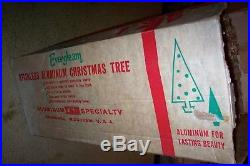 VINTAGE EVERGLEAM 6 FT. POM POM ALUMINUM SILVER CHRISTMAS TREE With91 BRANCHES