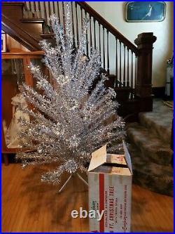 VINTAGE Evergleam 6' Aluminum 94 Branch Brilliant Christmas Tree