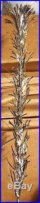 VINTAGE SPARKLER POM POM 6 Ft SILVER ALUMINUM CHRISTMAS TREE 91 BRANCHES NICE