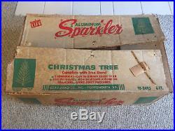 VINTAGE Sparkler 6 Ft Silver Aluminum Christmas Tree withOriginal Box