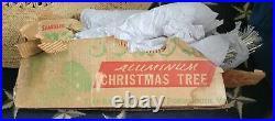 VTG MCM SPARKLER POM POM ALUMINUM CHRISTMAS TREE 31 BRANCHES STAND 4 Feet Tall