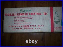 VTG RETRO HTF HTF 4 Ft EVERGLEAM FROSTY FOUNTIAN Silver Aluminum Xmas Tree