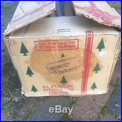 VTG Silver POM POM Aluminum Christmas Tree in BOX, 6 1/2 feet Deluxe, 99 Branches