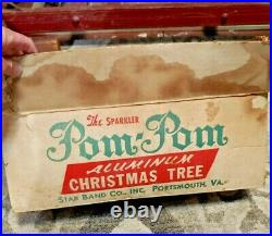 ViNTAGE 4 FT SPARKLER POM POM SILVER ALUMINUM CHISTMAS TREE STAR BAND Co WithBOX