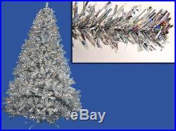 Vickerman 6' Pre-lit Silver Full Artificial Sparkling Tinsel Christmas Tree