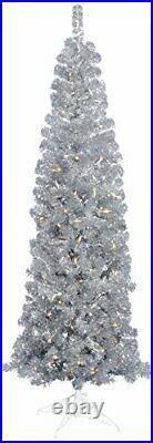 Vickerman 7.5' Silver Pencil Artificial Christmas Tree with 400 Clear Lights