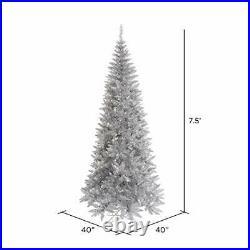 Vickerman Silver Tinsel Fir Artificial Christmas-Trees 7.5