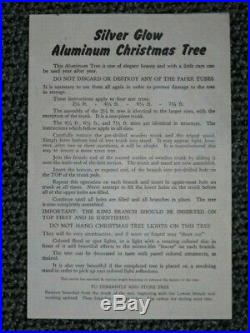Vintage 135 Branch 7.5 ft. SILVER GLOW ALUMINUM CHRISTMAS TREE 1960's