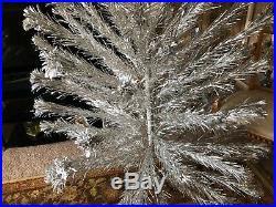 Vintage 1960's Aluminum Silver 7' Christmas Tree Pom Pom Ends