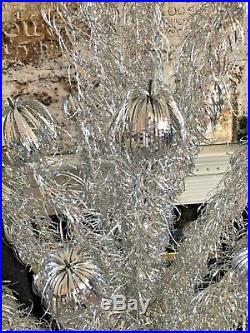 Vintage 1960's Silver Aluminum Sparkler Pom Pom 105 Branch Christmas Tree 7 Ft