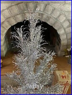 Vintage 1960s Evergleam Stainless Aluminum 4' Christmas Tree With Box 4 FT