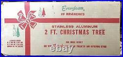 Vintage 2 FT. ALUMINUM SILVER EVERGLEAM FOUNTAIN POM POM CHRISTMAS TREE with Box