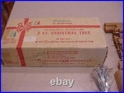 Vintage 2 FT. Stainless Aluminum Silver EVERGLEAM Christmas Tree with Box 1965