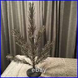 Vintage 2 Foot Silver Aluminum Christmas Tree Wood Stand Box 13 Branches Table T