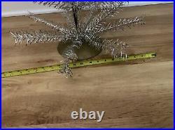 Vintage 2 Silver Aluminum/Tinsel Christmas Tree Kitsch Mid Mod