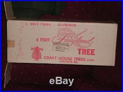 Vintage 4 Ft Silver Aluminum Fairyland Christmas Tree #5004 In Box