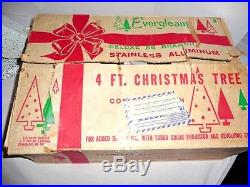 Vintage 4 ft Evergleam Deluxe Aluminum 58 Branch Christmas Tree with Color Wheel