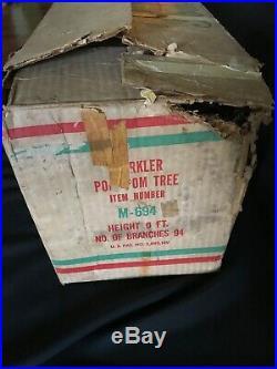 Vintage 50s 60s Mid Century 6' Pom Pom Sparkler Silver Aluminum Christmas Tree