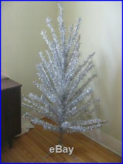 Vintage 50s 60s Midcentury Modern Silver Aluminum Christmas Tree 6