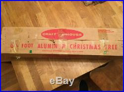 Vintage 6.5' CRAFT HOUSE Aluminum Christmas tree silver Xmas retro kitsch