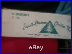 Vintage 6' Aluminum silver Christmas tree 1950s pom pom box unused EVERLASTING