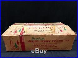 Vintage 6' Evergleam Silver Aluminum Pom Pom Christmas Tree COMPLETE 95 Branches