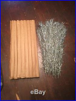 Vintage 6 Foot 41 Branch Aluminum Silver Christmas Tree 2 Poles And Stand AB