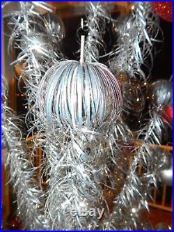 Vintage 6 Ft. Aluminum Pom Pom Metal Silver Mid Century Christmas Tree 89 brnch