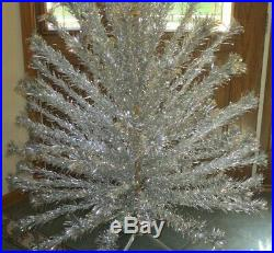 Vintage 6 Ft Silver Aluminum Pom Pom Christmas Tree 94 Branches